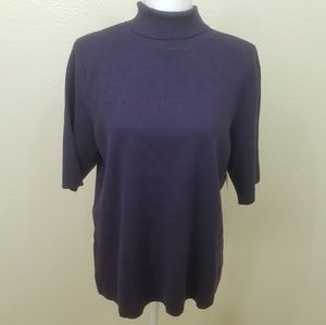 Coldwater Creek Purple Short Sleeve Sweater Sz 16